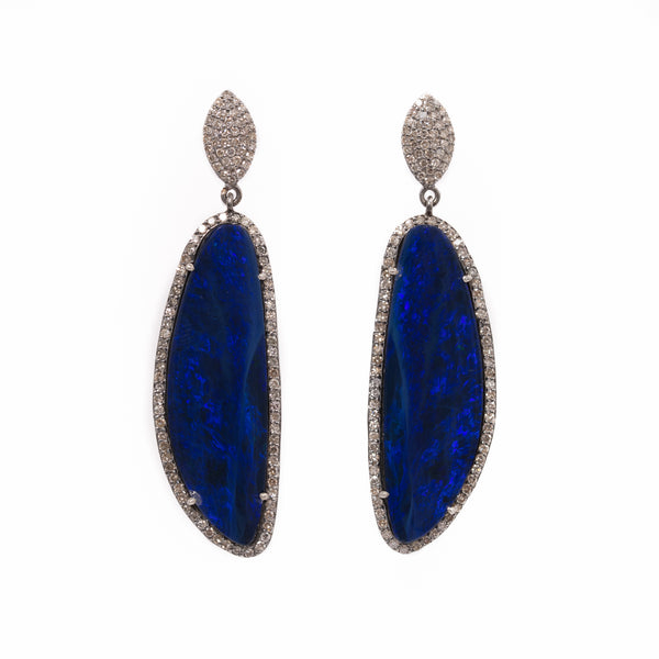 Blue Opal Diamond Drop Earrings