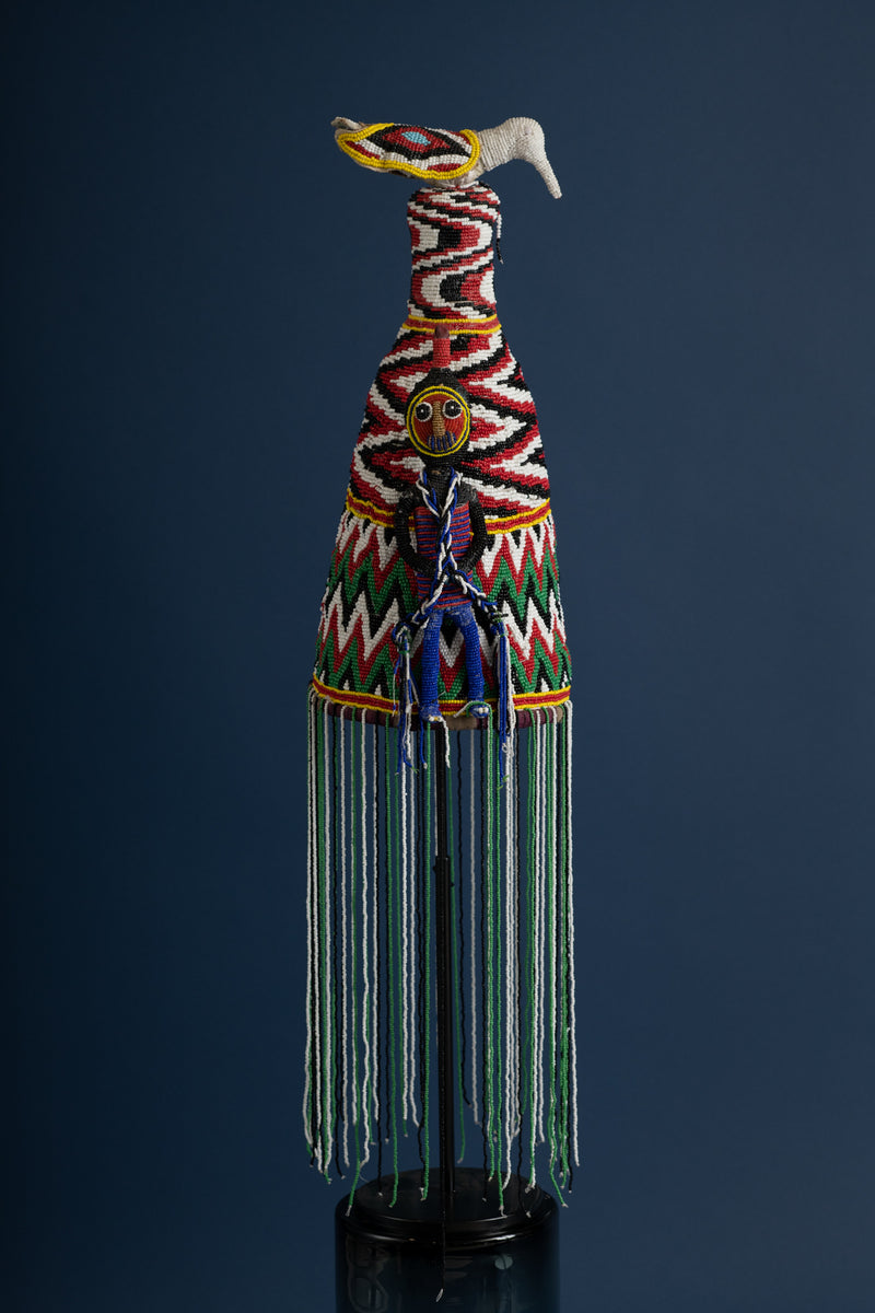 Beaded African Crown - Multicolored - Tall