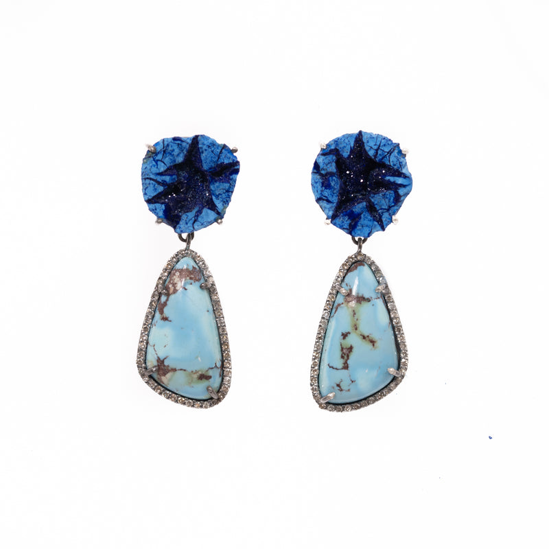 Azurite Geode and Kazakhstan Turquoise Drop Earrings