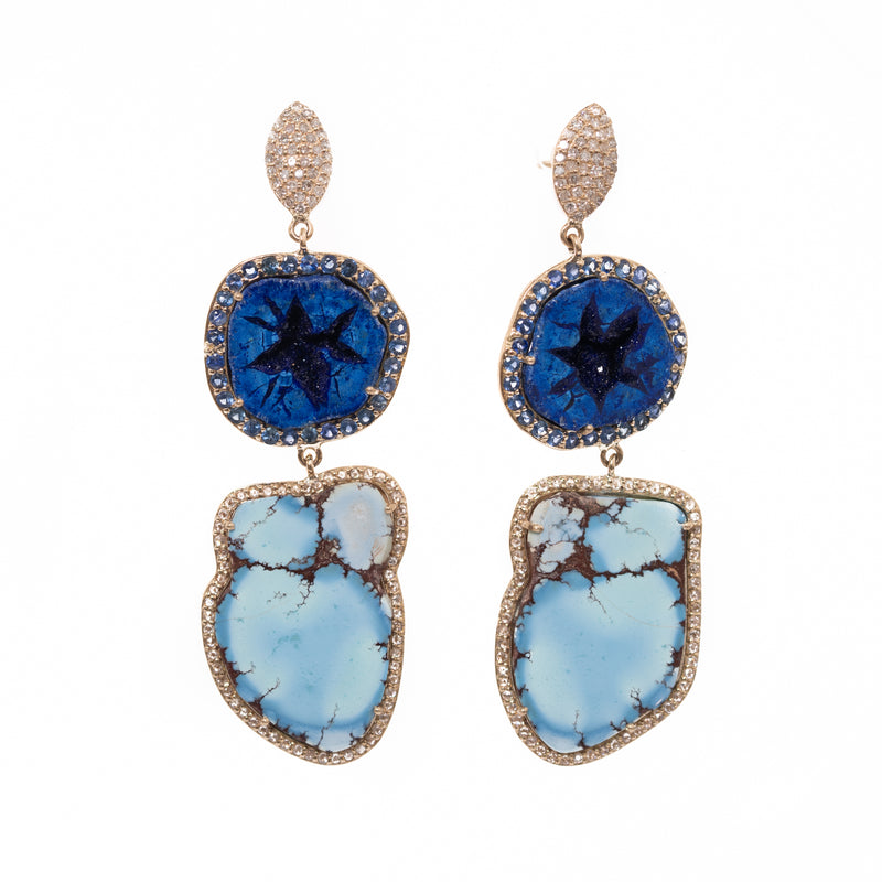 Azurite Geode and Kazakhstan Turquoise Slice Gold Earrings