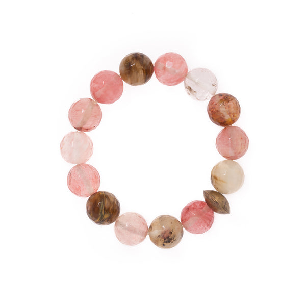 Strawberry Quartz and African Brass Disc Bloom Bracelet
