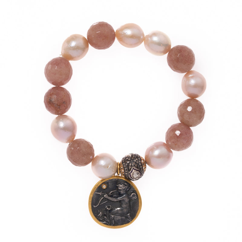 Rose Quartz and Pearls with Polki Diamond Bead and Eros Angel Pendant Bloom Bracelet