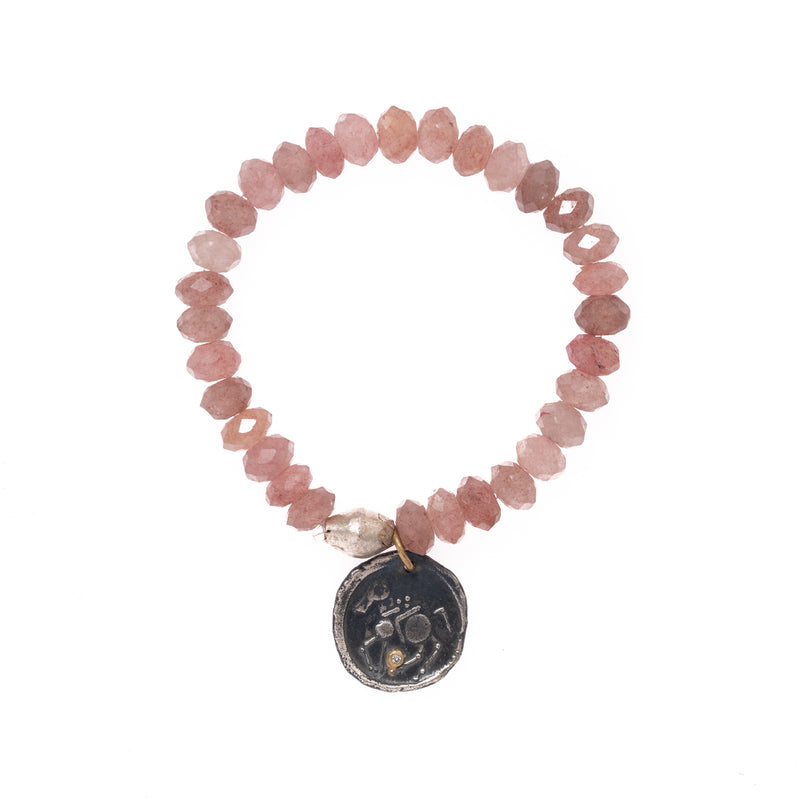 Rose Quartz and Silver African Brass with Silver and 24K Gold Turkish Pendant with Diamond Bloom Bracelet