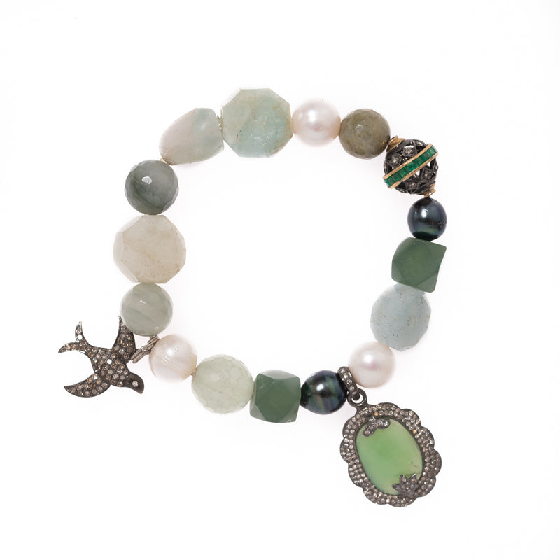 Aquamarine, Jade, Tahitian and White Pearls, Moss Agate, Oxidized Silver with Gold and Emeralds Bead, Silver and Diamond Bird Pendant, Silver and Diamond Chalcedony Pendant Bloom Bracelet