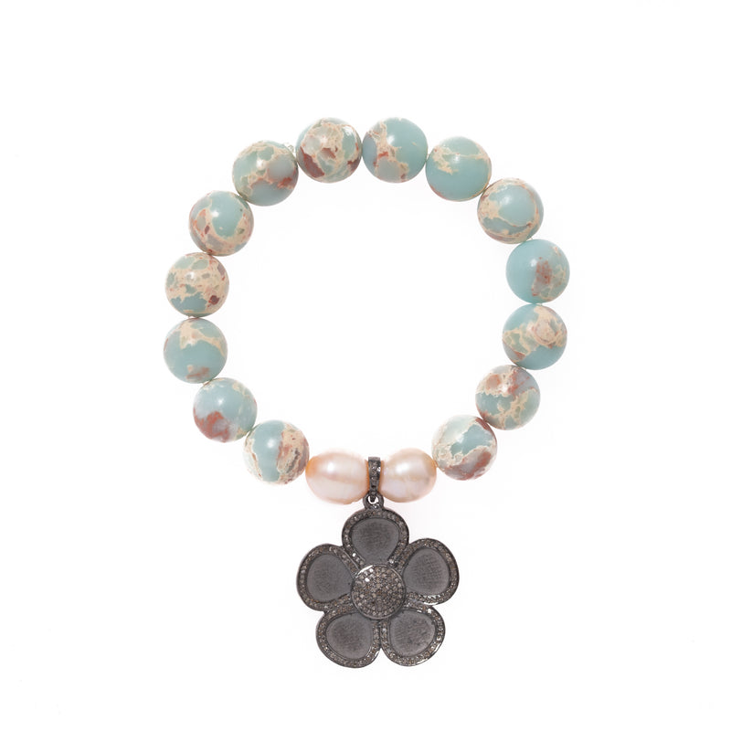 Pagodite and Pearls with Silver and Diamond Flower Pendant Bloom Bracelet