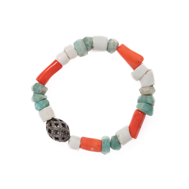 Russian Amazonite, Coral, and Shell with Diamond Bead Bloom Bracelet