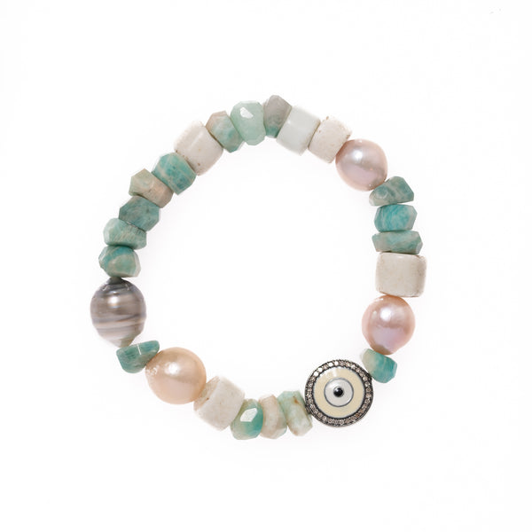 Russian Amazonite, Shell, Baroque Pearls with Enamel and Diamond Bead Bloom Bracelet