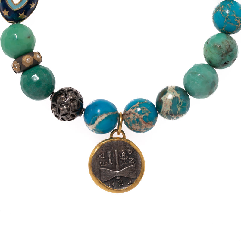 Imperial Jasper, Turquoise, and Chrysocolla with 24K Janus Silver Pendant Bloom Bracelet