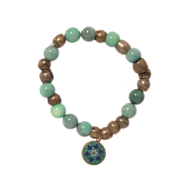 Chrysocolla and Brass Breads with Enamel Mandala Bloom Bracelet