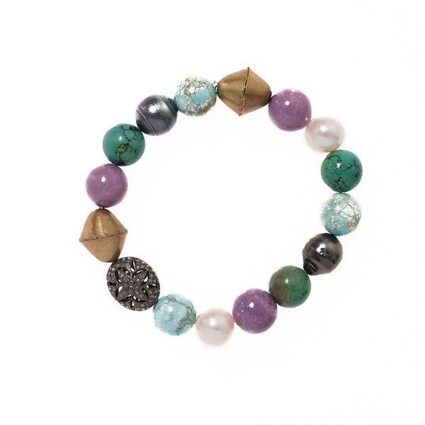 Imperial Turquoise, Pine Turquoise, Purple Opal, Tahitian and White Pearls, African Brass with Diamond and Silver Bead Bloom Bracelet