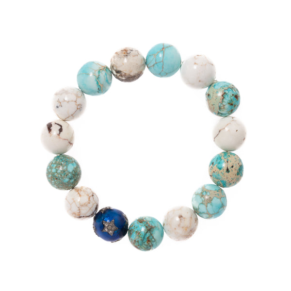 Regalite and Howlite with Blue Enamel and Diamond Bead Bloom Bracelet