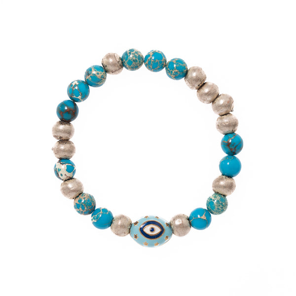 Imperial Jasper and Silver with Evil Eye Bead Bloom Bracelet