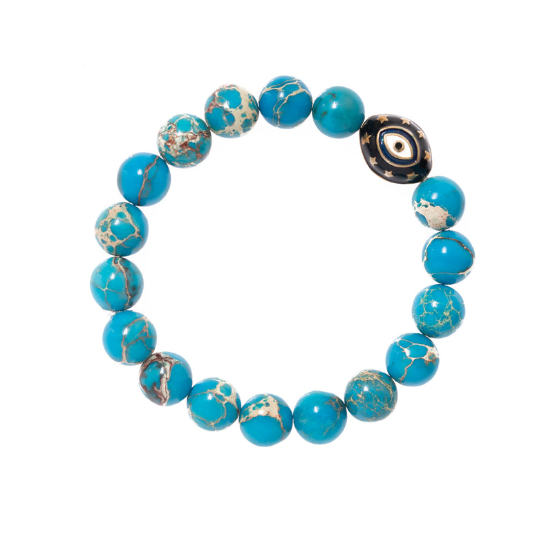 Imperial Jasper with Enamel Evil Eye Bead Bloom Bracelet