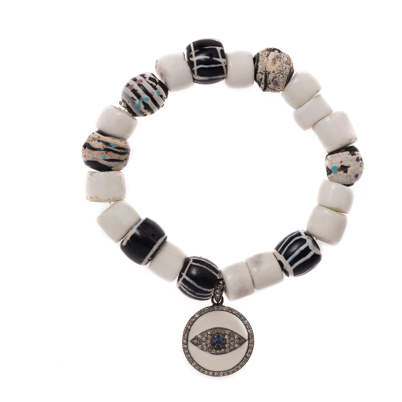 Shell and African Beads with Diamond Eye Charm Bloom Bracelet