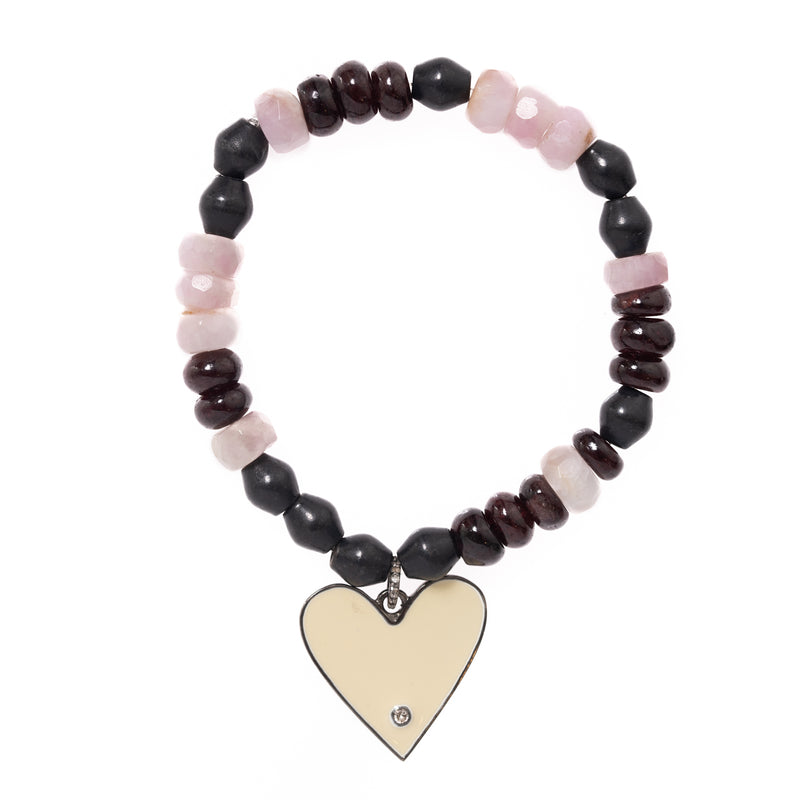 Red Garnet and Kunzite Beads with White Enamel Single Diamond Heart Pendant Bloom Bracelet