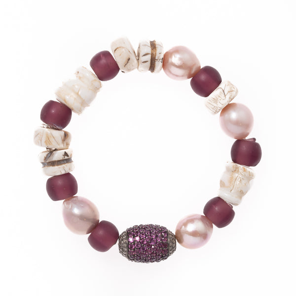 Shell, Pearl and Glass with Tourmaline and Diamond Bead Bloom Bracelet