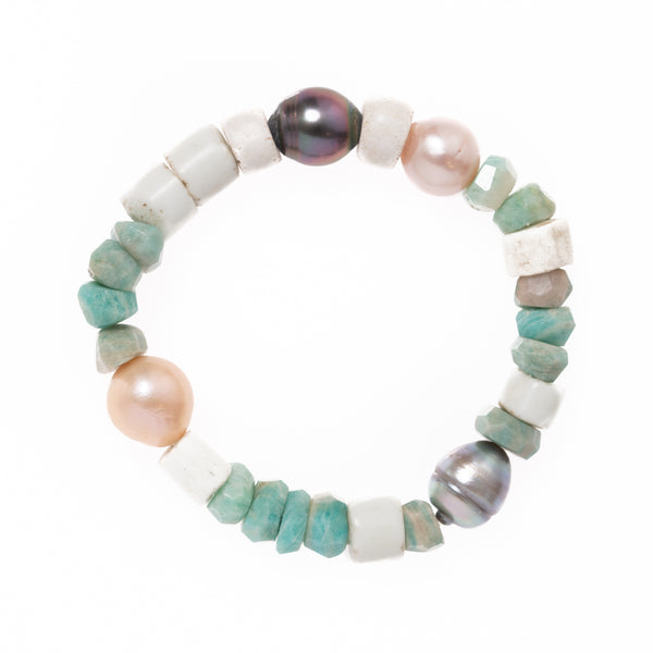 Russian Amazonite, Shell, and Baroque Pearls Bloom Bracelet