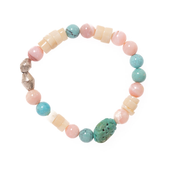White Coral, Pink Opal, Turquoise, Silver African Bead with Carved Turquoise Bead Bloom Bracelet