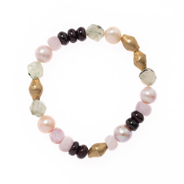 African Brass with Kunzite, Pink Pearls, Red Garnet and Green Rutilated Quartz Beads Bloom Bracelet