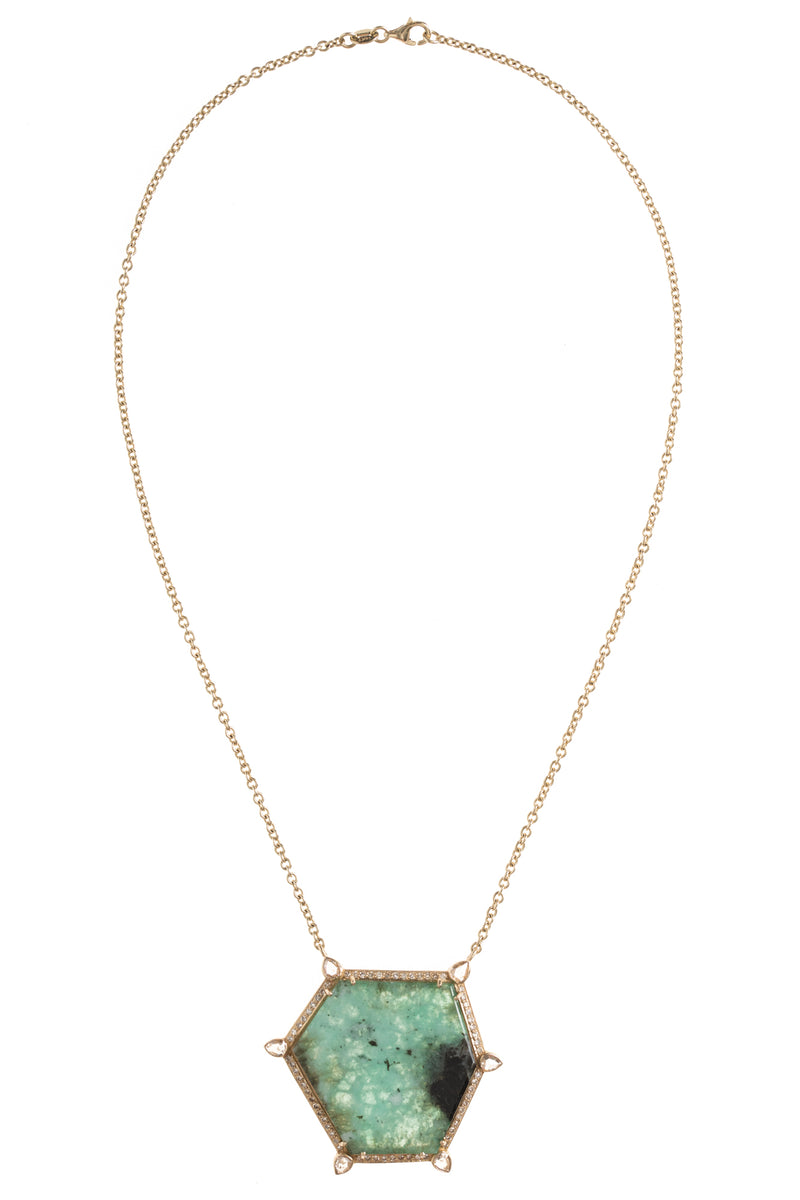 Emerald Slice Hex and Gold Necklace