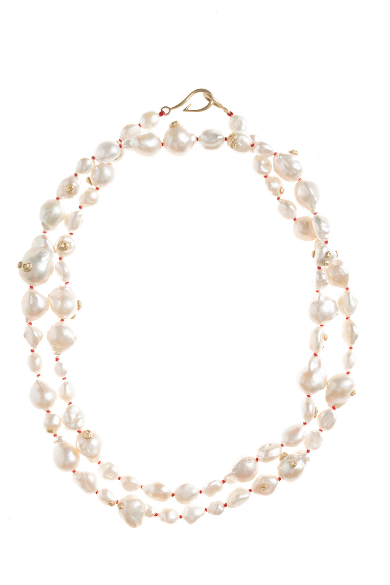 Popcorn Pearl Ruthie B. Necklace with Barnacles