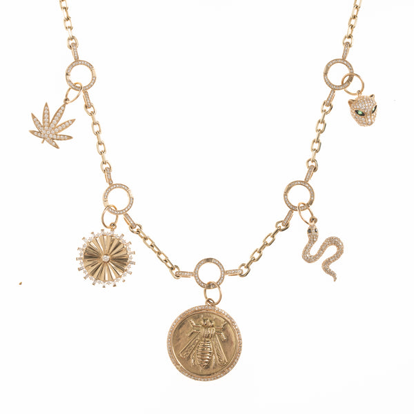 18'' 5 Changeable Charm Gold Link Chain