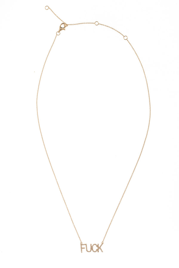 FUCK Petite Gold Word Necklace 14''-17''