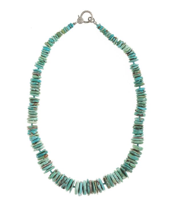 Sparkling Turquoise Disk Necklace