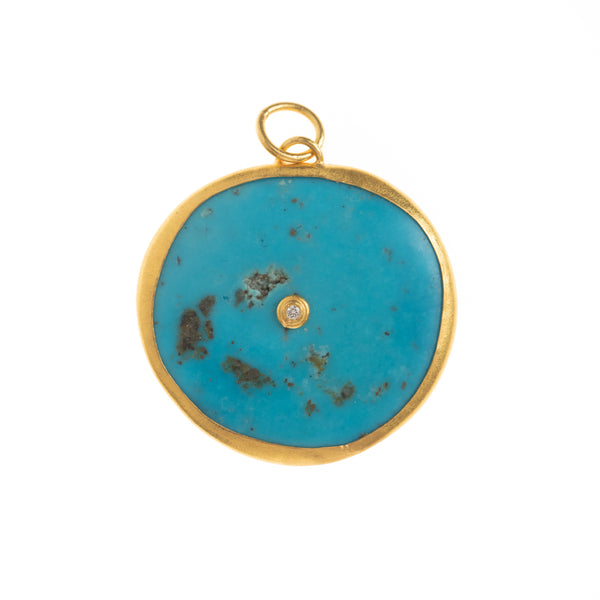 Turquoise Disc with Diamond Center Pendant