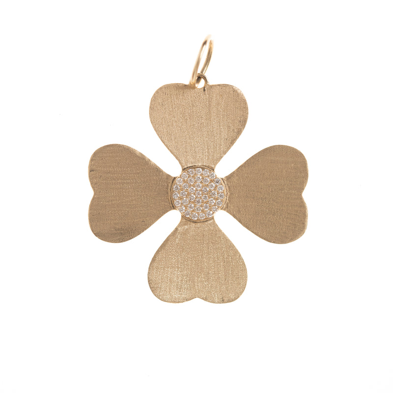 Brushed Gold and Diamond Clover Pendant