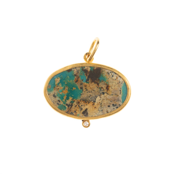Oval Turquoise Diamond Drop Pendant