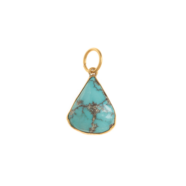 Turquoise Drop Gold Back Pendant
