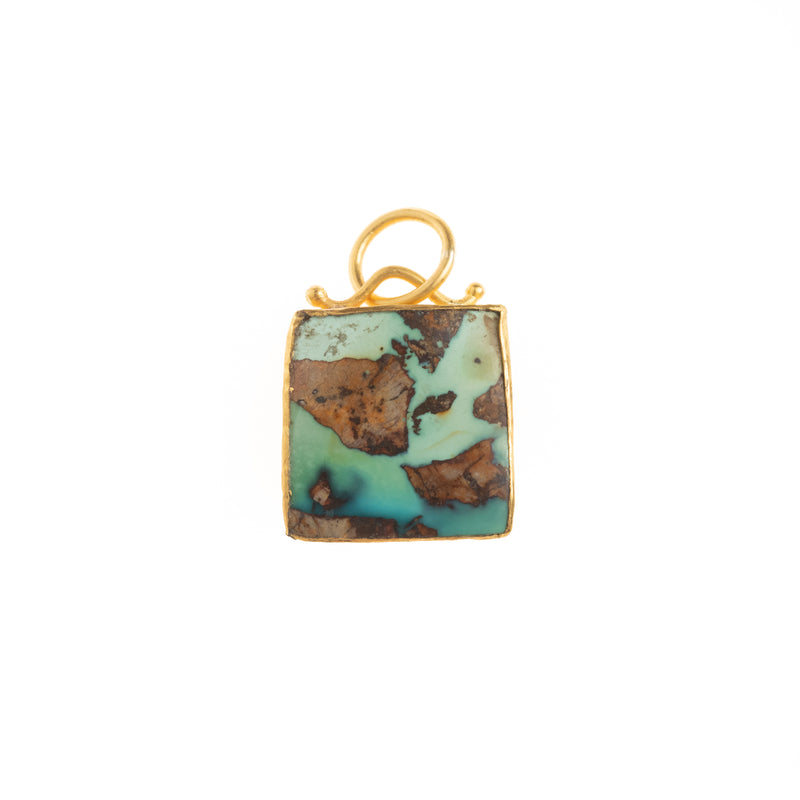 Square Turquoise Gold Back Pendant