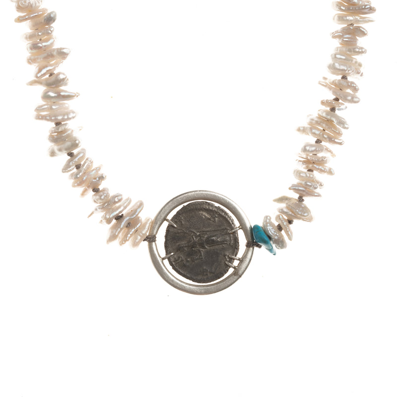 Vesta Ancient Coin Pearl Vanity Necklace