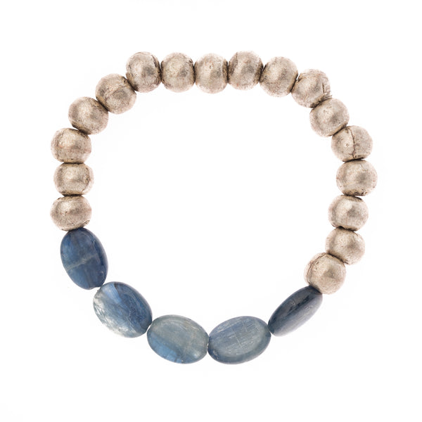 African Brass and Kyanite Oval Beads Bloom Bracelet