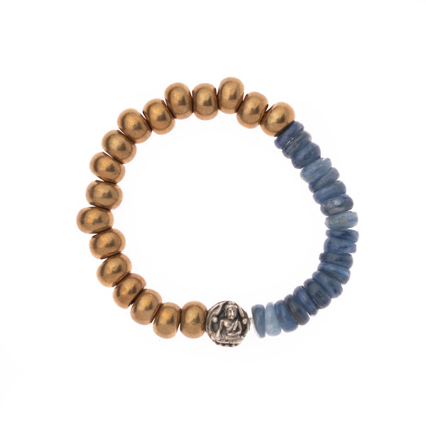African Brass and Kyanite with Nepalese Silver Buddha Bead Bloom Bracelet