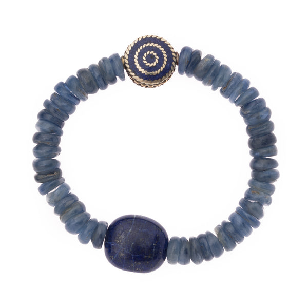 Kyanite with Lapis and Brass Indian Bead Bloom Bracelet