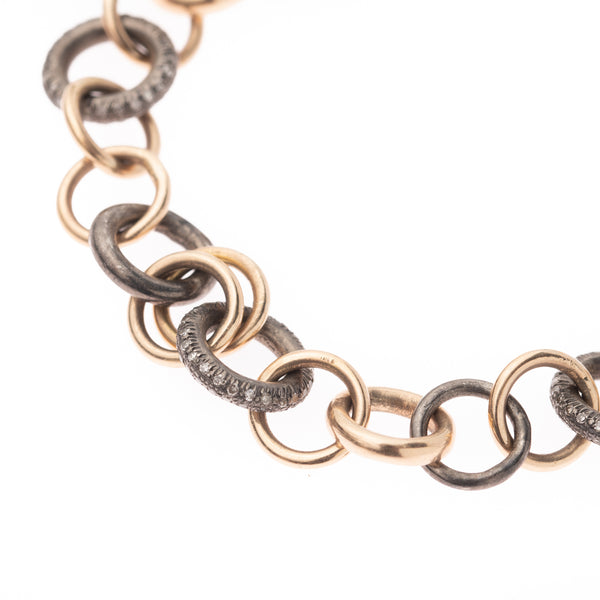 Oxidized Silver and Diamond Links Gold Bracelet 7''