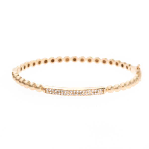 Gold Spheres and Diamond Bar Bracelet