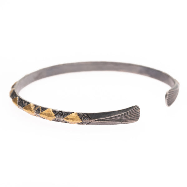 Gold Diamond on Silver Bangle