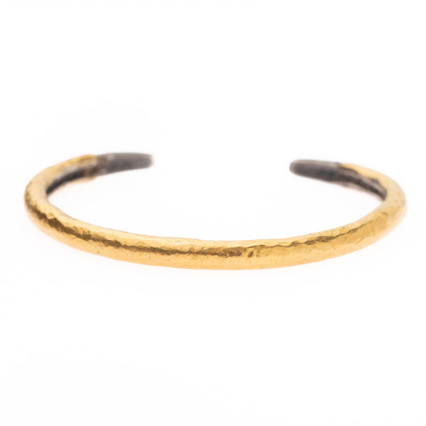 Hammered Gold on Silver Bangle