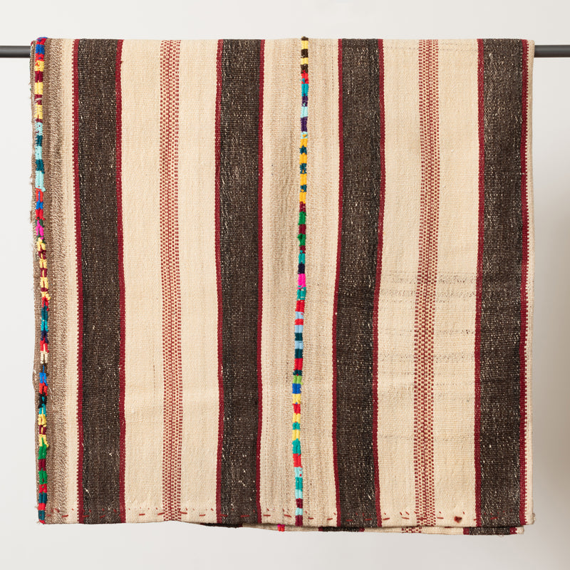 Colorful Stripe Kilim Rug - 310x199 - White Brown and Red
