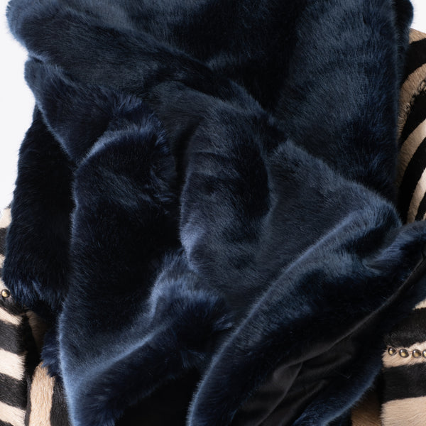 Blue Mink Faux Fur Throw - 60x86