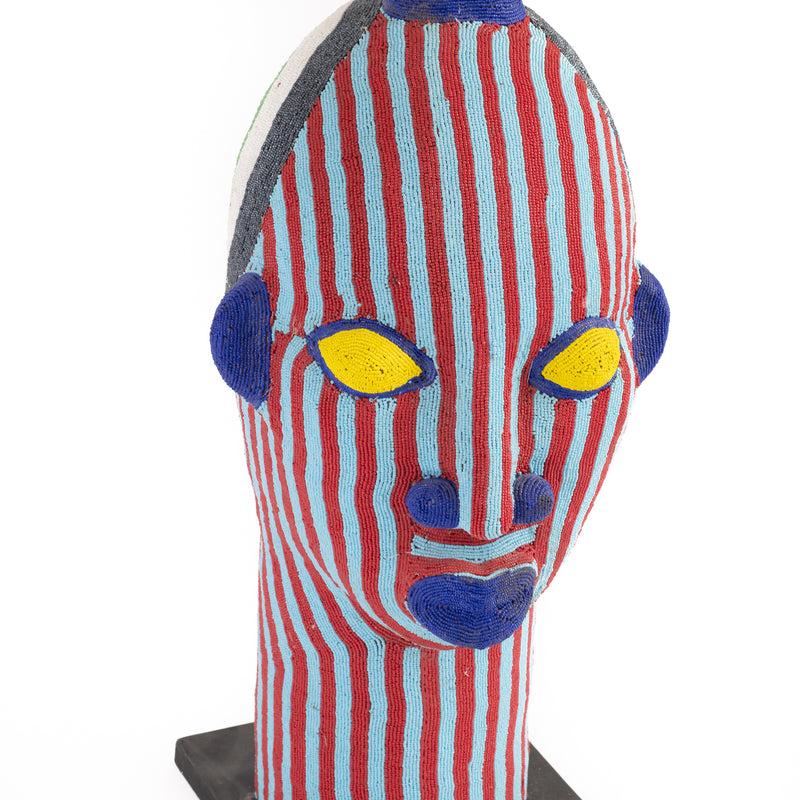 Moroccan Pottery Head - Red and Blue Stripe