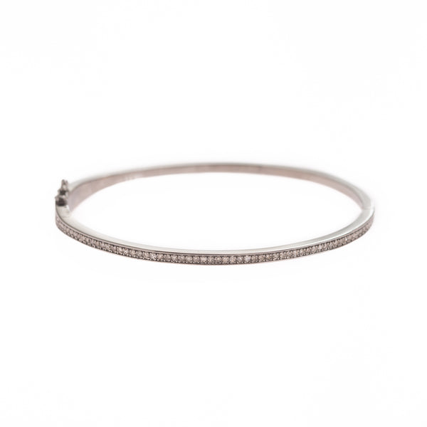 Single Diamond Row Silver Bracelet