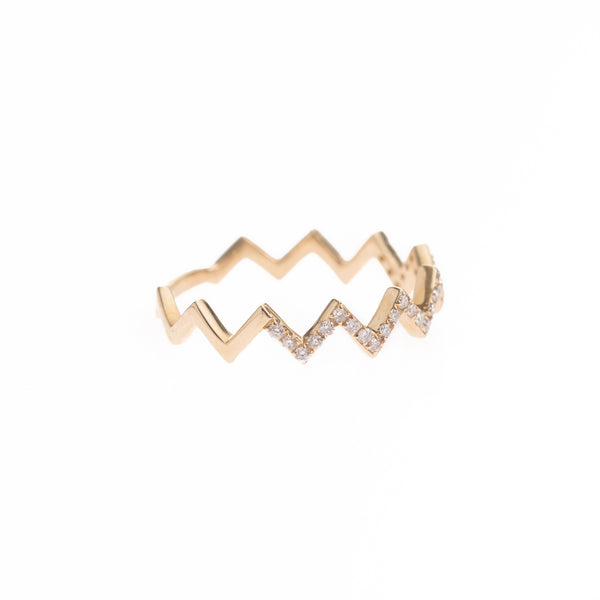 Zig Zag Pave Diamond Ring