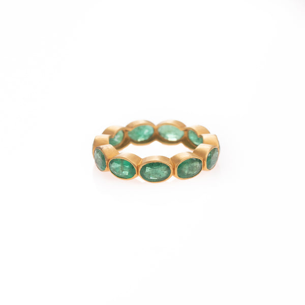 Wide Emeralds All Around Gold Ring