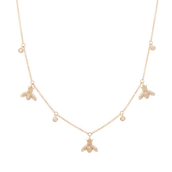 Three Sweet Bee with Diamonds Gold Necklace