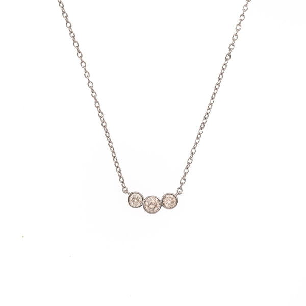 Three Curved Diamond Silver Necklace