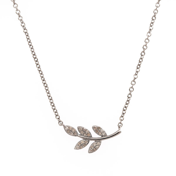 Small Silver Olive Branch Necklace